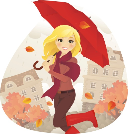 Girl in Fall With Umbrella
