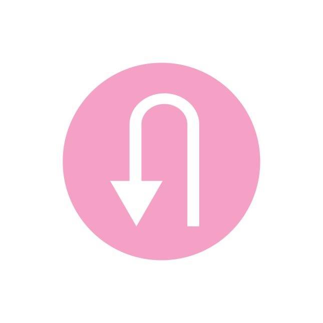 u turn sign - pink